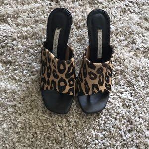 Diane von Furstenberg Leopard Pony Hair Sandal 7.5